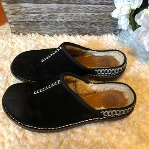 UGG black leather slip on mules